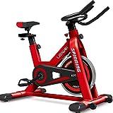 Lloow Tore la Bicicleta de Ejercicios con Pantalla LED Ajustable, Bicicletas de Ejercicios de tubería de Acero Rojo 2020