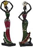 JYHZ Decoraciones, esculturas de Figuras africanas, esculturas de Damas de pie en Vestidos de Colores, estatuillas de Resina, Colecciones de Arte Decorativo de Oficina en casa (Oro + Plata)
