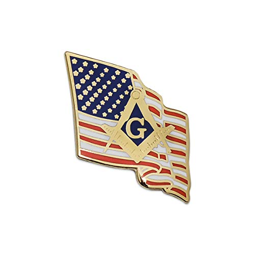 Waving American Flag with Square & Compass Masonic Lapel Pin - [Gold & Red][7/8'' Tall]
