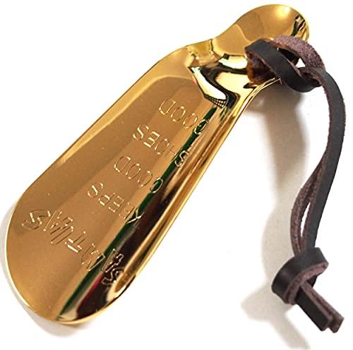 近藤 SAMTIAS 携帯 靴べら 真鍮 金属 ハンド シューホーン ゴールド (本革 キーホルダー ストラップ付き)