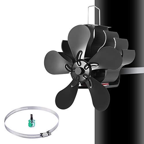Ventilador de estufa de leña, 5 aspas con destornillador, funciona con calor, respetuoso con el medio ambiente en la chimenea para/quemador de leña/ventiladores de chimenea
