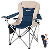 FUNDANGO Oversize Folding Camping Padded Outdoor Chair with Lumbar Suppot, Cup Holder, Armrest, Heavy Duty High Back XL Camp Chair for Backpacking, Travel, Beach with Carry Bag, Supports 300 lbs