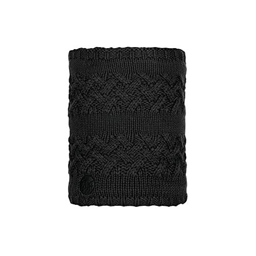 Buff Savva Knitted and Polar Fleece Neck Warmer, Black, Adul