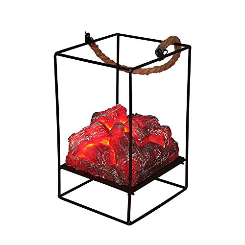 JY&WIN Lampe de cheminée à Flamme Effet de Flamme à LED, Lampe à Charbon de Bois de Simulation à Piles, pour Lampe d'ambiance extérieure intérieure de Noël Halloween (Taille: A)