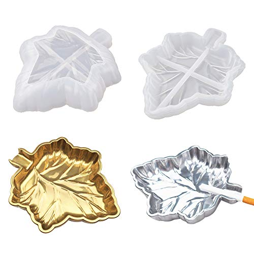Maple Leaf Storage Tray Resin Mold,Jewelry Ring Container Epoxy Resin Mold Silicone Mold Jewelry Trinket Container Candy Box Plate Dish Soap Candle Holder Candlestick Case Casting Mold