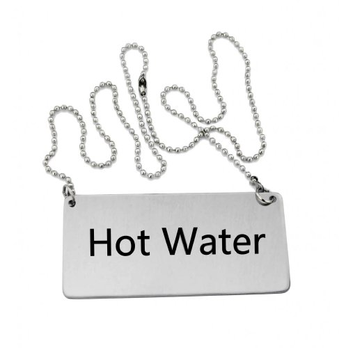 "New Star Foodservice 27518 Stainless Steel Chain Sign, (Hot Water), 3.5""x 1.5"", Set of 6"