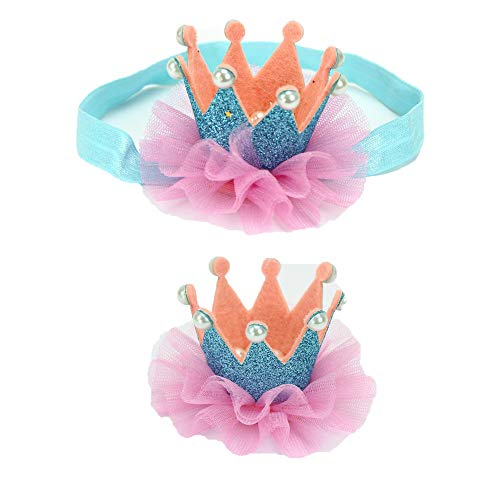 G-Tree Baby Hair Accessories Baby Girl's Gift Box, Shiny Bow Crown Headband and Girl Hairpin,Best Gift for baby (Blue)