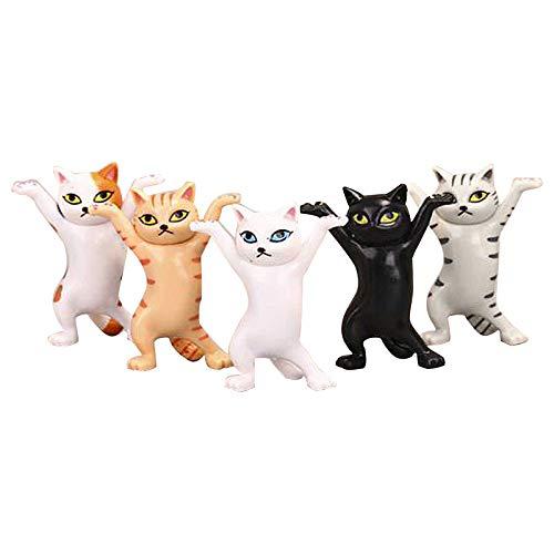 ネコのペンおき 5pcダンス猫人形の飾り猫 PVC製 にゃんこ 可愛い おもちゃ 小さい玩具 模型 子猫おもちゃセット ミニおもちゃ モデル萌えグッズ コレクション 誕生日 プレゼント サプライズボックス