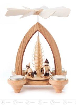 Pyramide mit Winterkindern, für Teelichte Höhe x Tiefe 24 cmx15,5 cm NEU Erzgebirge Tischpyramide Weihnachtspyramide