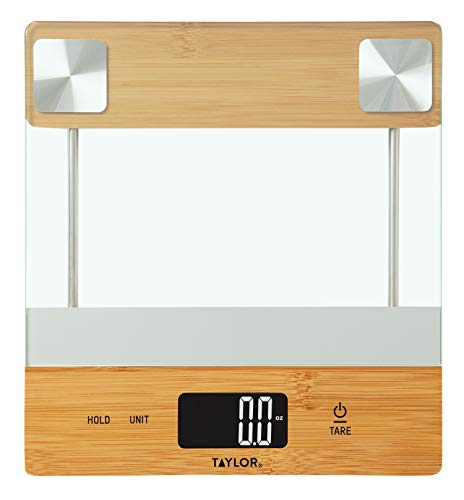 Taylor Precision Products Digital Glass/Bamboo Household Kitchen Scale, 11 Pound Capacity, Natural