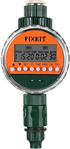 FIXKIT Nuevo Reloj de Riego con Pantalla LED con Cubierta Protectora Impermeable y Programa de Riego Digital (Hasta 30 Días)