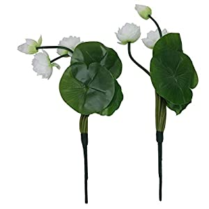 Amosfun Artificial Flower Fake Lotus Ornament Silk Flower Plant for Home Store Party Festival Decor White Party Favors