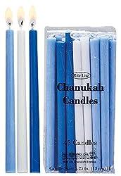 Rite Lite Deluxe Chanukah Candles - Assorted Blue, Light Blue & White 45 Hanukkah Menorah Candles