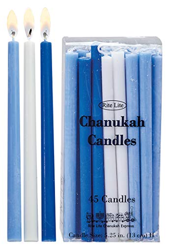 Rite Lite Deluxe Chanukah Candles - Assorted Blue, Light Blue & White 45 Hanukkah Menorah Candles