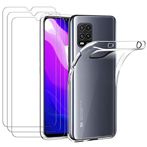 ivoler Hülle für Xiaomi Mi 10 Lite 5G, mit 3 Stück Panzerglas Schutzfolie, Dünne Weiche TPU Silikon Transparent Stoßfest Schutzhülle Durchsichtige Handyhülle Kratzfest Hülle