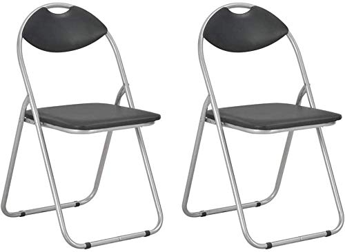 Klappstühle 2 Stk. Kunstleder Klappbarer Stuhl in Schwarz Klappstuhl Gepolstert Metall-Klappstuhl Stühle Catering Stuhl, Platzsparende Aufbewahrung und Transport, Catering Möbel, 2er-Set