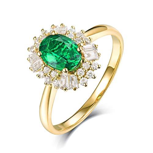 Socoz 18K Yellow Gold Wedding Jewelry Bride,Flower Women Gold Proposal Ring gold