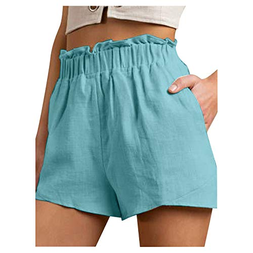 SSMENG Women's Casual Shorts Ruffled Elastic Waist Loose Fit Hem Solid Cotton Linen Workout Shorts for Women Teen Girls Blue