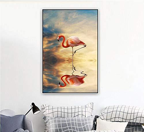 ganlanshu Rahmenlose Malerei Rosa Vogel Schatten Zen Thema Tier nordischen Stil Heimtextilien Leinwand WandkunstZGQ3274 60X90cm