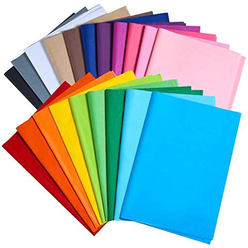 MIAHART 60 fogli di carta velina colorata sfusa 35x50 cm carta velina da imballaggio 20 colori assortiti carta velina artistica per artigianato festa compleanno festival confezioni regalo decorativo