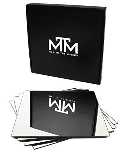 MAN IN THE MIRROR® Spiegelfliesen selbstklebend - Made In Germany - 20x20cm - Spiegel selbstklebend - Klebespiegel für alle Räumlichkeiten - 4er Set