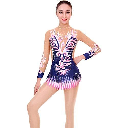 PATNICK Rhythmische Gymnastik Trikot Performance Kleidung Anpassen Kinder Erwachsene Hohe Elastizität Gymnastik Anzug Show Wettbewerb Eiskunstlaufkleid,Multi-Colored-Child6