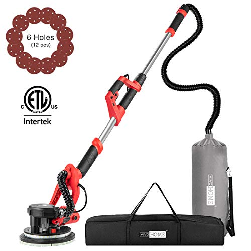 VIVOHOME 800W Electric Adjustable Variable Speed Drywall Sander Machine with Automatic Vacuum System LED Light and Carry Bag
