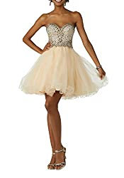 Champagne Beaded Rhinestone Sweetheart Tulle Short Dress