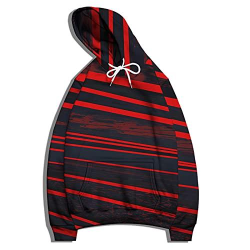 SSBZYES Camicia Sportiva da Uomo a Righe Colorate Pullover con Stampa Digitale con Cappuccio T-Shirt a Maniche Lunghe Allentata con Cappuccio Giacca da Coppia Uniforme da Baseball