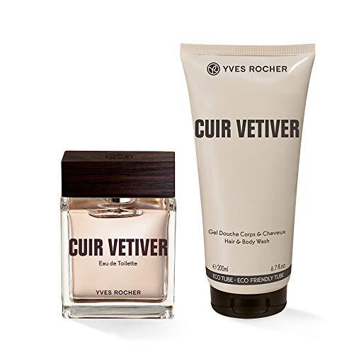 Yves Rocher CUIR VÉTIVER Duft-Set, Geschenk-Set bestehend aus Eau de Toilette & Dusch-Shampoo, kontrastreicher Vetiver-Duft, Valentinstag Geschenkidee für Männer