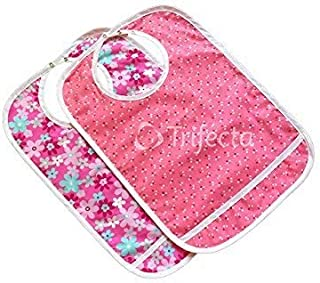 2 pack - Adult Bib w/ Pocket, Reusable Machine Washable, Mealtime Clothing Protector, Waterproof