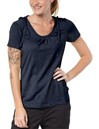 Jack Wolfskin Damen Shirt TRAVEL Hoody T Women Leicht Atmungsaktiv Kapuzen Shirt, Midnight Blue, S, 1804472-1910002