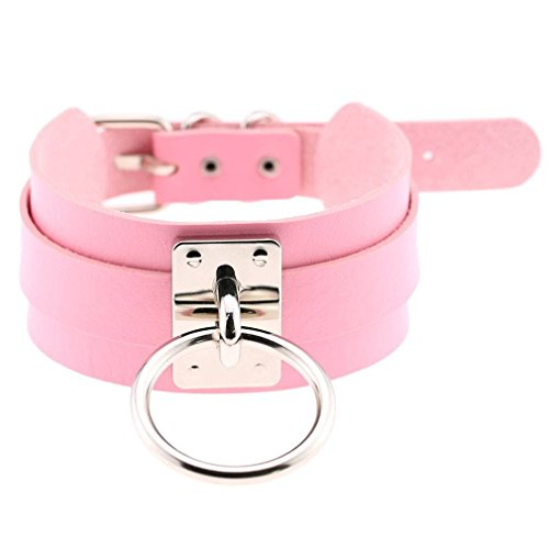 COMVIP Women's Large O Ring Wide PU Adjustable Buckle Choker Necklace Pink