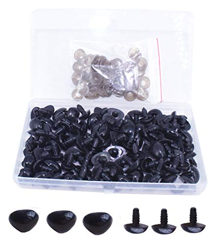 BESTCYC 1 Box(50PCS) 19.5mm Black Plastic D-Type Animal Safety Nose with Washers for Bear, Doll, Puppet, Plush Animal and Craft