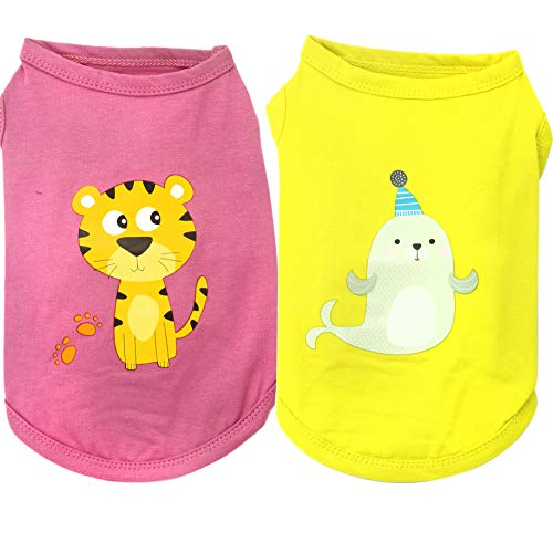 Camicie per cani Maglietta di stoffa per cani Cucciolo Gatto Veste Costume di abbigliamento per cani Femmina Maschio per Cane medio piccolo -2 pezzi