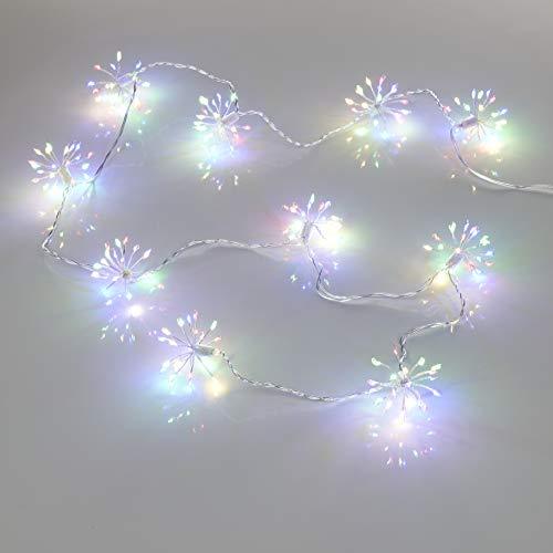 200 LED Lichterkette Weihnachten Sparkling Leuchtball 180cm lang/Feuerwerk/Pusteblume mit 5m Zuleitung Netzteil und Timer für den Innenbereich (Bunt)