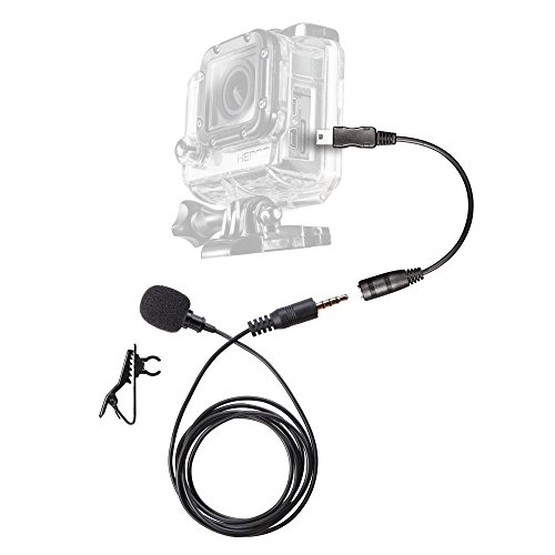 Walimex Pro GoPro Lavalier Set Ansteckmikrofon für GoPro Hero inkl. Verbindungsadapter Mini USB/3,5 mm Klinke