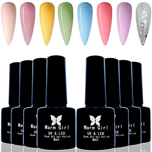 Warm Girl Gel Esmalte de uñas 8 piezas Soak Off LED UV Gel esmalte de uñas Nail Art Starter Kit Gel Nail Polish Collection Set Nail Art Manicure Salon DIY