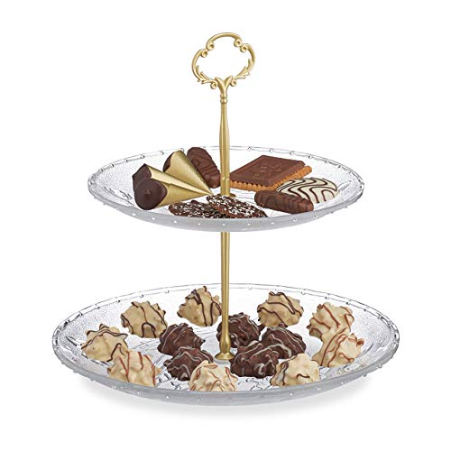Relaxdays Etagere, 2-stöckig, Torten, Cupcakes, Snacks, rund, Glas/Metall, HD 26x25 cm, Servierständer, gold/transparent, 1 Stück