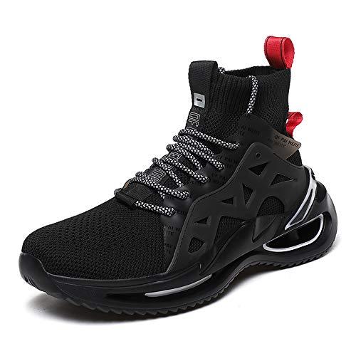 JXILY Zapatillas de Deporte Zapatillas de Trekking Calzado Deportivo de Moda Zapatos Casuales Cómodos Tejidos Voladores Altos Zapatillas de Skateboard,Negro,39