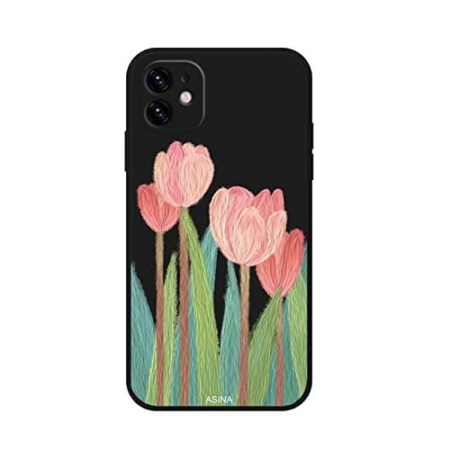 QJSMGZS Funda De Borde Lateral Recta For IPhone 13 11 12 Pro Max XS Max Xr I Teléfono 8 7 6 Plus SE2020 Cubierta De Flores De Aceite De Silicona Suave ( Color : 6 , Material : For iPhone SE 2020 )