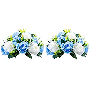 Nuptio Pcs of 2 Fake Flower Ball Arrangement Bouquet,15 Heads Plastic Roses with Base, Suitable for Our Store's Wedding Centerpiece Flower Rack for Parties Valentine's Day Home Décor (Blue & White)