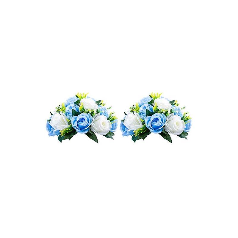 silk flower arrangements nuptio pcs of 2 fake flower ball arrangement bouquet,15 heads plastic roses with base, suitable for our store's wedding centerpiece flower rack for parties valentine's day home décor (blue & white)