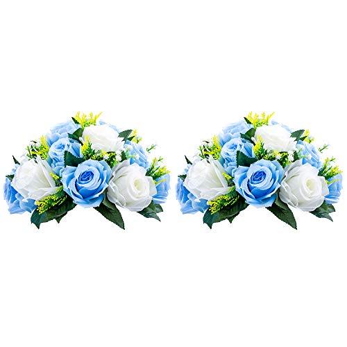 Nuptio 2 Pièces Fleurs Artificielles, 15 Têtes de Roses Plastique avec Base, Convient au Centre de la Table Mariage Notre Magasin pour Les Fêtes Décoration de Saint Valentin(Bleu&Blanc)