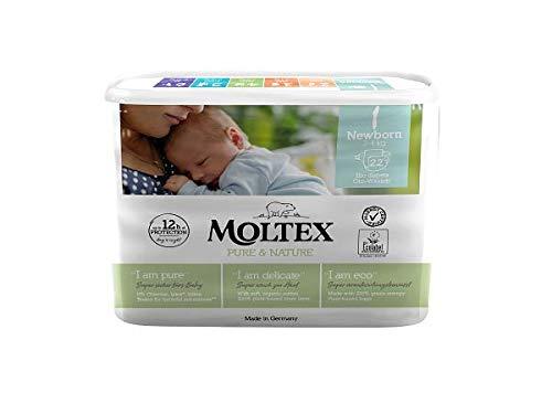 MOLTEX Nature No1 - Pañales ecológicos de oso para bebé, tamaño 1 (2-4 kg)