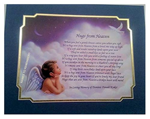 NAMES TO REMEMBER What's in a Name? Personalized Bereavement Poem Gift Hugs from Heaven on Angel Boy Background w/Purple & Frosted Gold Dual Matte