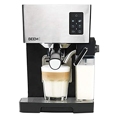 BEEM Germany Espresso & Cappuccino Maker Machine with Automatic Milktank for Foam or Hot Milk with Adjustable cosintency Including Portafilter & Spoon with Tamper 1450W