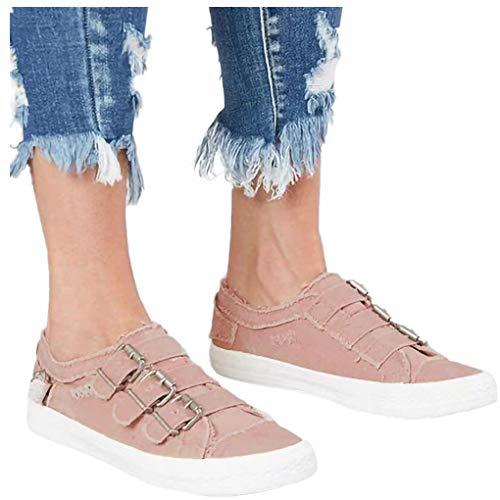Dorical Unisex Damen Herren Canvas Sneaker Low Übergrößen mit Metallschnalle,Slip-on Roundtip Flache Vintage Schuhe aus Gummi Größe 35-43 Reduziert(Rosa,43 EU)