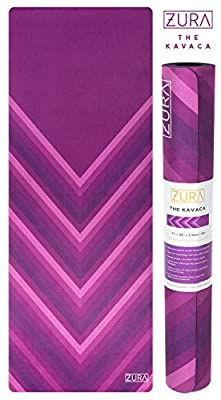 ZURA The Eco-Friendly Combo Yoga Mat + Towel, No-Slip Grip with Microfiber Towel Top - Extra Long - 3.5 mm Thick - 100% Natural and Non-Toxic, Machine Washable