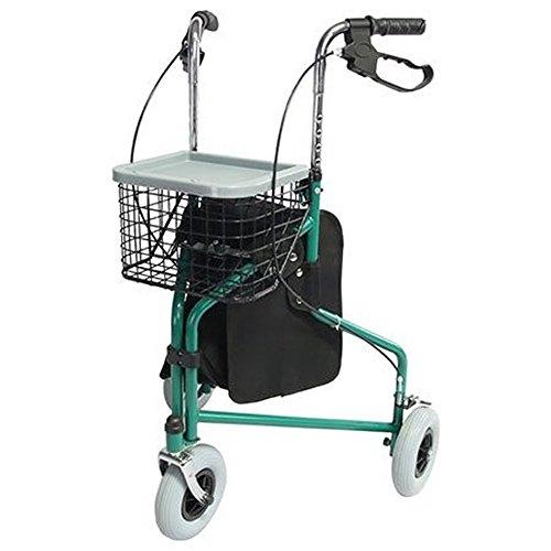 Mobiclinic, Modelo Caleta, Andador para adultos, mayores, minusválidos o ancianos, de acero, ligero, plegable, con cesta y 3 ruedas, Color Verde